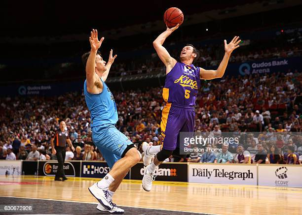 Jason Cadee of the Kings shoots during the round 13 NBL match between the Sydney Kings and New Zealand Breakers on December 30 2016 in Sydney...