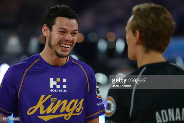 Jason Cadee of the Sydney Kings and Kyle Adnam of Melbourne United talk prior to the round six NBL match between Melbourne United and the Sydney...