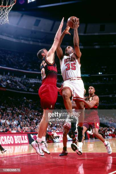 Jason Caffey of the Chicago Bulls shoots the ball during the game against the Atlanta Hawks on May 8 1997 at the United Center in Chicago IL NOTE TO...