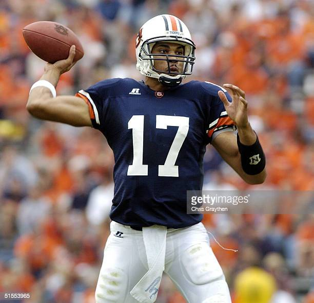 Jason Campbell of the Auburn Tigers looks to throw a pass against the Kentucky Wildcats on October 23 2004 at JordanHare stadium in Auburn Alabama...