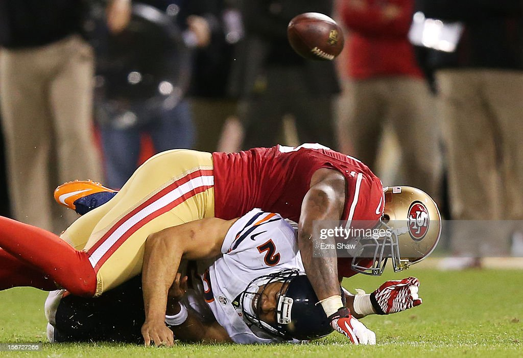 Jason Campbell #2 of the Chicago Bears fumbles the ball as he is sacked by Ahmad Brooks #55 of the San Francisco 49ers in the third quarter of the game at Candlestick Park on November 19, 2012 in San Francisco, California.