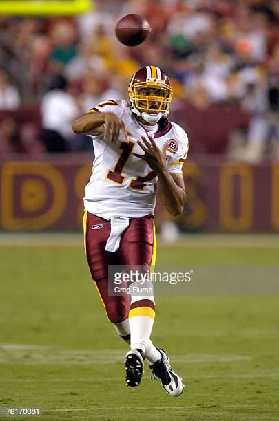 Jason Campbell of the Washington Redskins throws a pass against the Pittsburgh Steelers at FedEx Field August 18, 2007 in Landover, Maryland.
