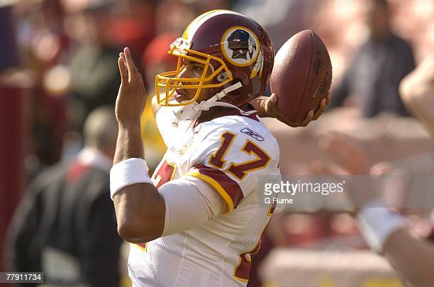 Jason Campbell of the Washington Redskins warms up before the game against the Philadelphia Eagles November 11 2007 at FedEx Field in Landover...