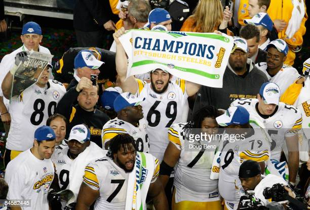 Jason Capizzi of the Pittsburgh Steelers celebrates on the field after defeating the Arizona Cardinals to win Super Bowl XLIII by a score of 27-23 on...