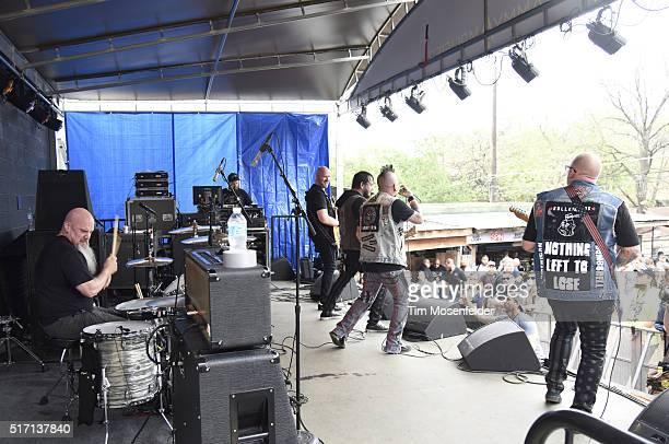 """Jason Carr, Steve Boyles, Jay Cee, Dustin Green, and Andrew """"Nix"""" Nixonof American Bombshell perform at the Spin at Stubb's SXSW Showcase at Stubb's..."""