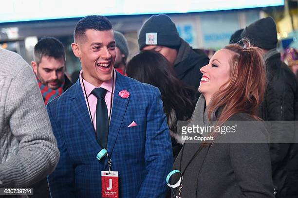 Jason Carrion and Cortney Hendrix of Married At First Sight Season 1 attend The FYI Network presents Kiss Bang Love during New Years Eve in Times...