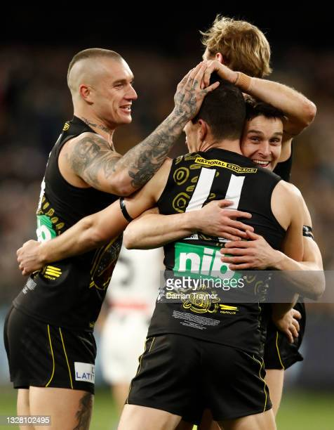 Jason Castagna of the Tigers celebrates a goal during the round 17 AFL match between Richmond Tigers and Collingwood Magpies at Melbourne Cricket...