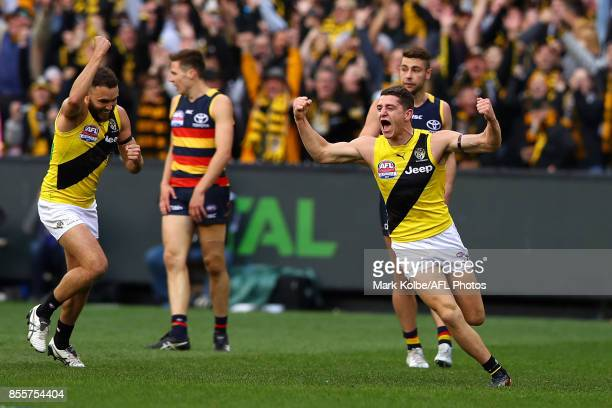 Jason Castagna of the Tigers celebrates kicking a goal during the 2017 AFL Grand Final match between the Adelaide Crows and the Richmond Tigers at...