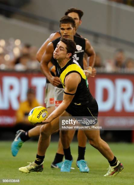 Jason Castagna of the Tigers in action during the 2018 AFL round 01 match between the Richmond Tigers and the Carlton Blues at the Melbourne Cricket...