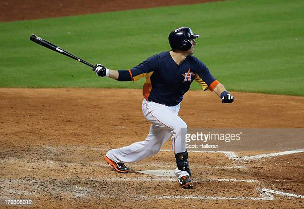 Jason Castro of the Houston Astros hits an RBI double in the eighth inning against the Seattle Mariners at Minute Maid Park on September 1, 2013 in...