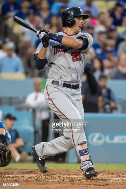 Jason Castro of the Minnesota Twins bats against the Los Angeles Dodgers on July 26 2017 at Dodger Stadium in Los Angeles California The Dodgers...