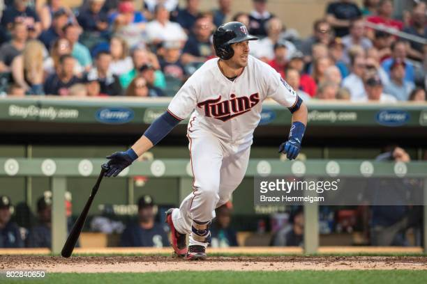 Jason Castro of the Minnesota Twins bats against the Seattle Mariners on June 12 2017 at Target Field in Minneapolis Minnesota The Mariners defeated...