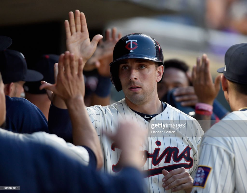 Jason Castro #21 of the Minnesota Twins celebrates scoring a run against the Arizona Diamondbacks during the fourth inning of the game on August 19, 2017 at Target Field in Minneapolis, Minnesota. The Twins defeated the Diamondbacks 5-0.