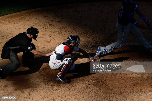 Jason Castro of the Minnesota Twins defends home plate against the Toronto Blue Jays during the game on September 17 2017 at Target Field in...