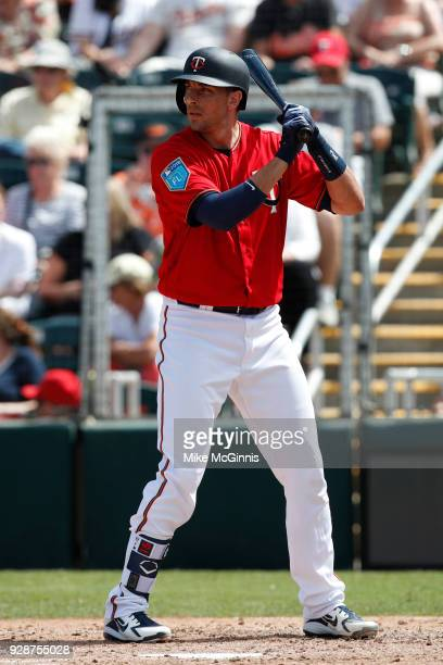 Jason Castro of the Minnesota Twins gets ready for the next pitch during the game against the Baltimore Orioles at Hammond Stadium on March 06 2018...