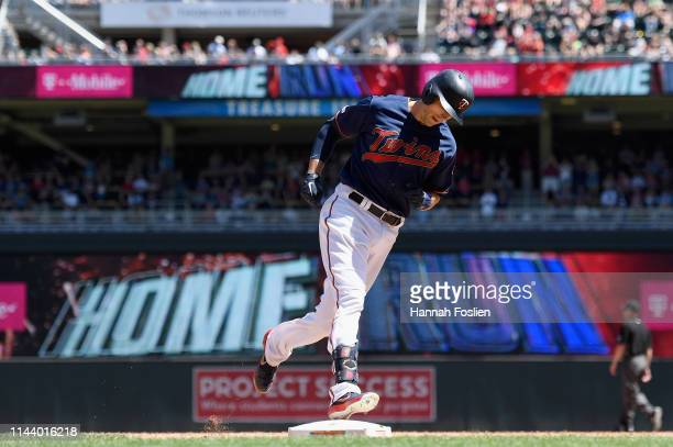 Jason Castro of the Minnesota Twins rounds the bases after hitting a tworun home run against the Los Angeles Angels during the sixth inning of the...