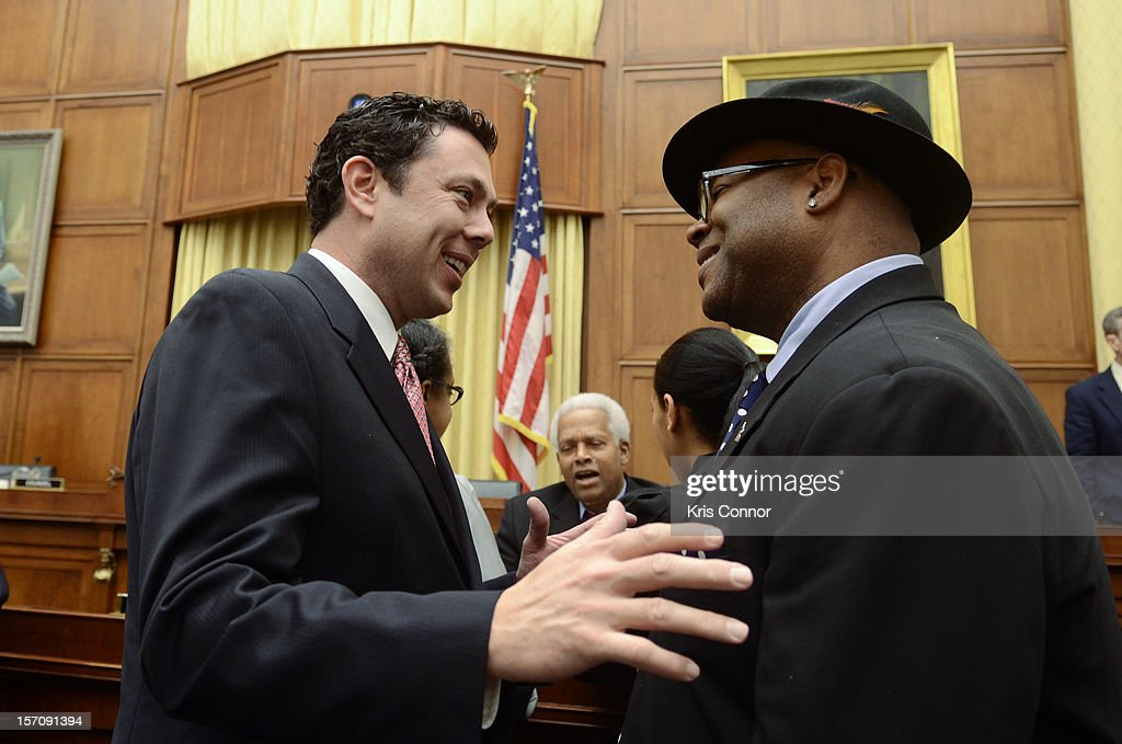 Jason Chaffetz and Jimmy Jam speak during a House of Representatives Judiciary subcommitte on Intellectual Property, Competition and the Internet titled 'Music Licensing Part One: Legislation in the 112th Congress' in the Rayburn House Office Building at U.S. House of Representatives on November 28, 2012 in Washington, DC.
