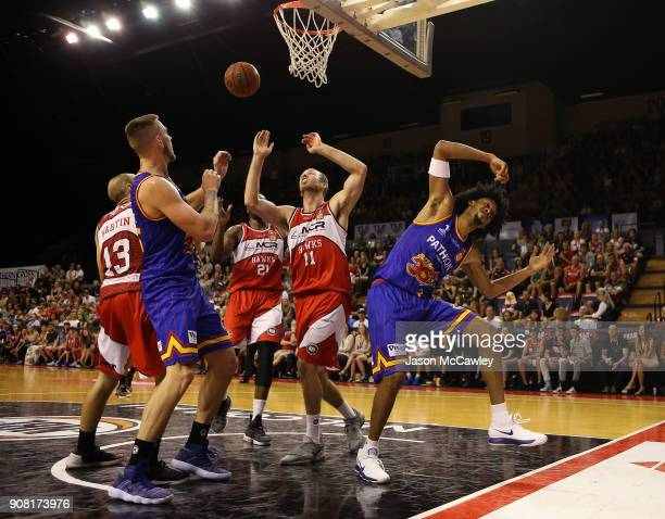 Jason Childress of the 36ers is fouled during the round 15 NBL match between the Illawarra Hawks and Adelaide United at Wollongong Entertainment...