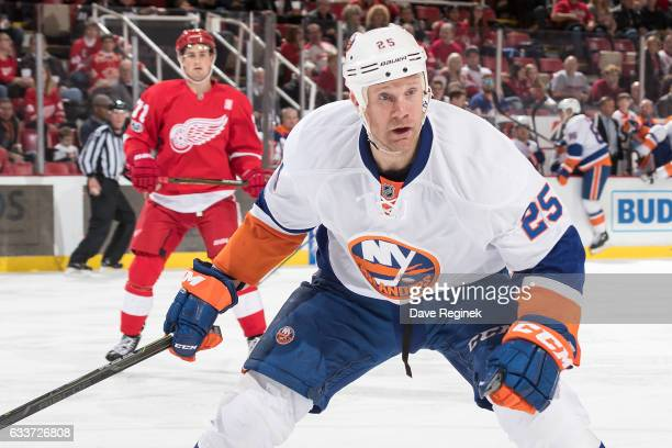 Jason Chimera of the New York Islanders skates in his 1000th NHL game against the Detroit Red Wings at Joe Louis Arena on February 3 2017 in Detroit...