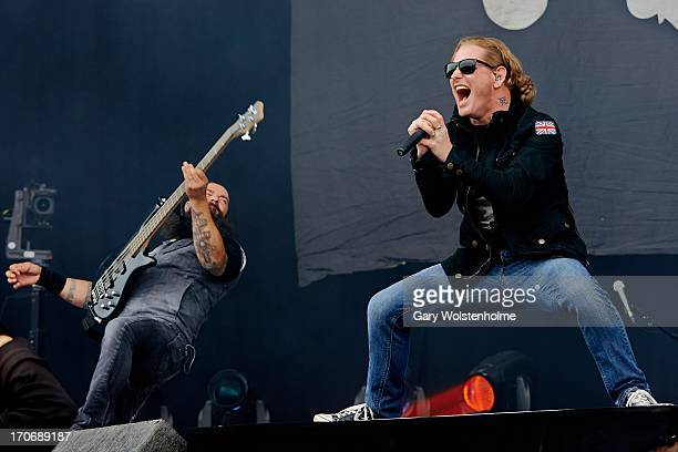 Jason Christopher Rappise and Corey Taylor of Stone Sour perform on stage on Day 3 of Download Festival 2013 at Donnington Park on June 16 2013 in...