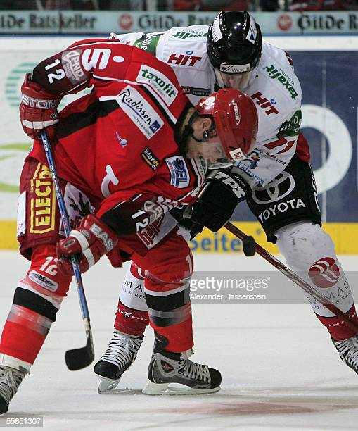 Jason Cipolla of Hanover in action with David McLlwain of Cologne during the DEL match between Hanover Scorpions and Cologne Haie at the TUI Arena on...