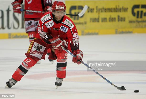 Jason Cipolla of Hanover runs with the puck during the Bundesliga game between Hanover Scorpions and Hamburg Freezers at the TUI Arena on October 23...