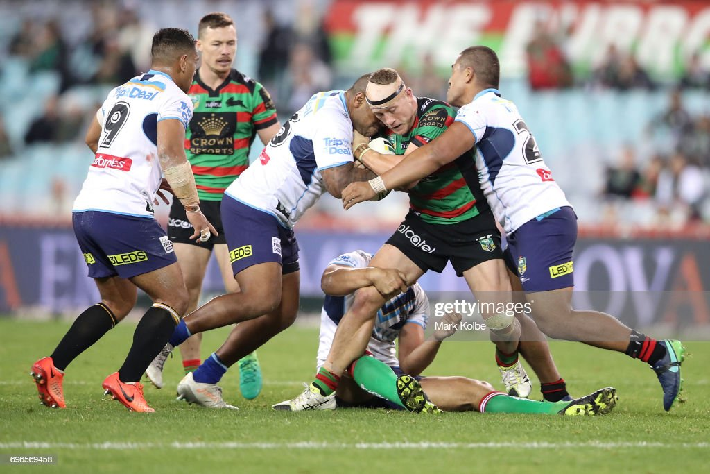 Jason Clark of the Rabbitohs is tackled during the round 15 NRL match between the South Sydney Rabbitohs and the Gold Coast Titans at ANZ Stadium on June 16, 2017 in Sydney, Australia.