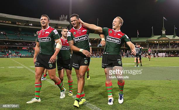 Jason Clark of the Rabbitohs jokes with John Sutton after the round five NRL match between the St George Illawarra Dragons and the South Sydney...