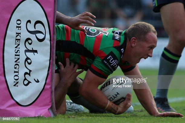 Jason Clark of the Rabbitohs scores a try during the round seven NRL match between the South Sydney Rabbitohs and the Canberra Raiders at Central...