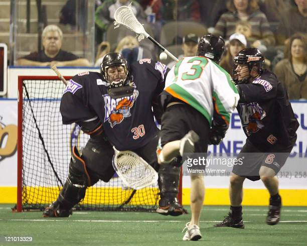 Jason Clark of the Shamrox throws the rubber at the net during the 3rd quarter of play at the Sears Centre Hoffman Estates IL where the Buffalo...