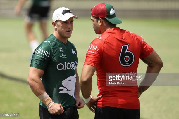 Jason Clark speaks to Greg Inglis during the South Sydney Rabbitohs NRL training session at Redfern Oval on February 27 2017 in Sydney Australia
