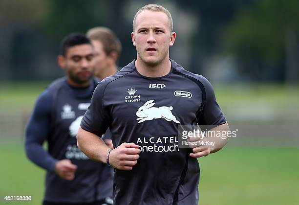Jason Clark warms up during a South Sydney Rabbitohs NRL training session at Redfern Oval on July 15 2014 in Sydney Australia