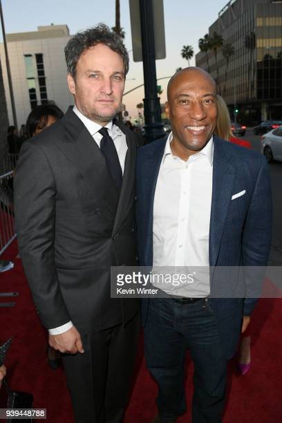 Jason Clarke and Entertainment Studios CEO/CoFounder Byron Allen attend the premiere of Entertainment Studios Motion Picture's 'Chappaquiddick' at...