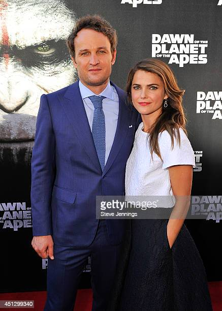 Jason Clarke and Keri Russell attend the premiere of Dawn of the Planet of the Apes at Palace Of Fine Arts Theater on June 26 2014 in San Francisco...