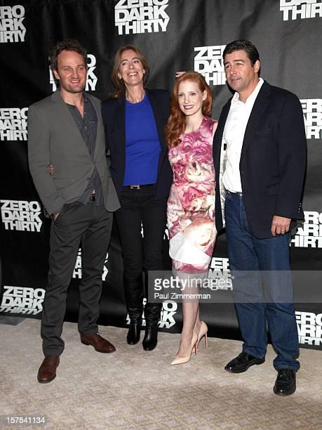 Jason Clarke director/producer Kathryn Bigelow Jessica Chastain and Kyle Chandler attend Zero Dark Thirty photo call at Ritz Carlton Hotel on...