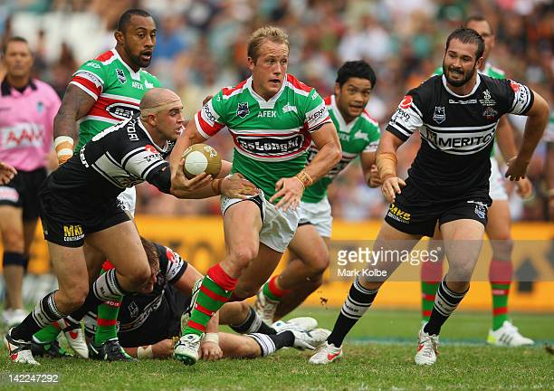 Jason Clarke of the Rabbitohs makes a break during the round five NRL match between the Wests Tigers and the South Sydney Rabbitohs at Allianz...