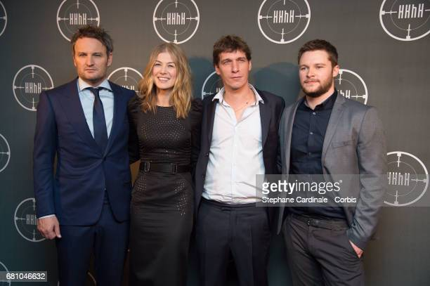 Jason Clarke Rosamund Pike Cedric Jimenez and Jack Reynor attend the HHhH Paris Premiere at Cinema UGC Normandie on May 9 2017 in Paris France
