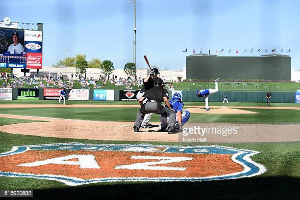 Jason Coats of the Chicago White Sox waits for the pitch from John Lannan of the Kansas City Royals during the seventh inning at Surprise Stadium on...