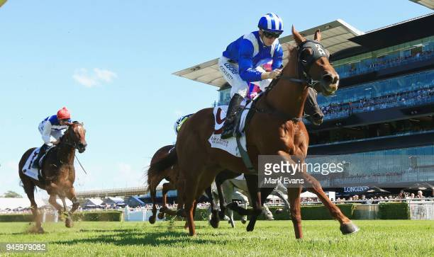 Jason Collett on Futooh wins race 1 during day two of The Championships as part of Sydney Racing at Royal Randwick Racecourse on April 14 2018 in...