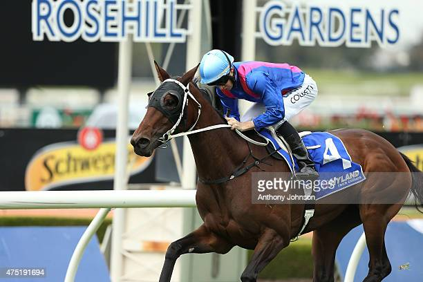 Jason Collett rides Missvonn to win race 2 The Hyland Race Colours Handicap during Sydney Racing at Rosehill Gardens on May 30 2015 in Sydney...