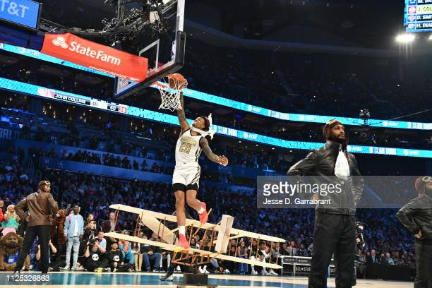 Jason Collins of the Atlanta Hawks dunks the ball during the 2019 ATT Slam Dunk Contest during the 2019 ATT Slam Dunk Contest as part of the State...
