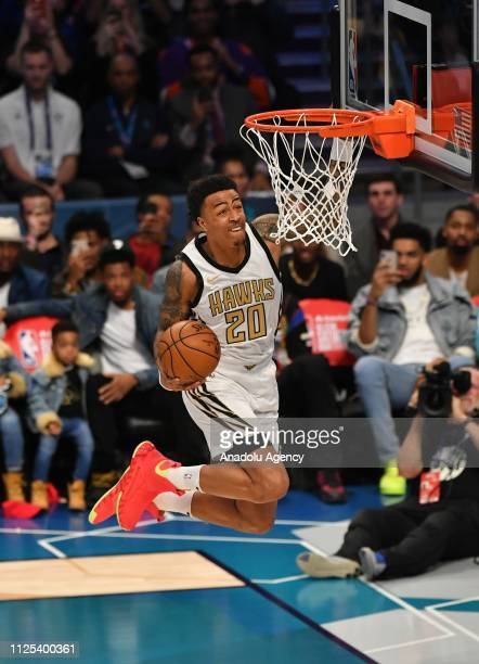 Jason Collins of the Atlanta Hawks dunks the ball during the 2019 AT&T Slam Dunk Contest during the 2019 AT&T Slam Dunk Contest as part of the State...