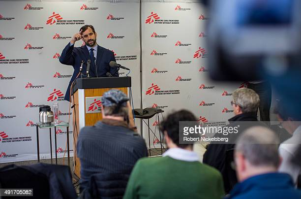 Jason Cone Executive Director of Doctors Without Borders/Medecins Sans Frontieres speaks to reporters at a press conference where he called for an...