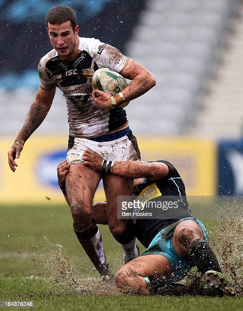 Jason Crooks of Hull attempts to break through the London Broncos defence during the Super League match between London Broncos and Hull at Twickenham...