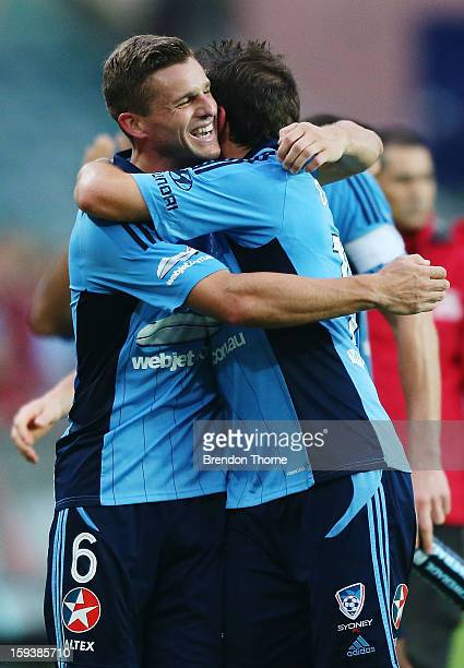 Jason Culina and Alessandro Del Piero of Sydney hug at full time during the round 16 ALeague match between Sydney FC and the Melbourne Heart at...