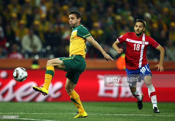 Jason Culina of Australia in action during the 2010 FIFA World Cup South Africa Group D match between Australia and Serbia at Mbombela Stadium on...