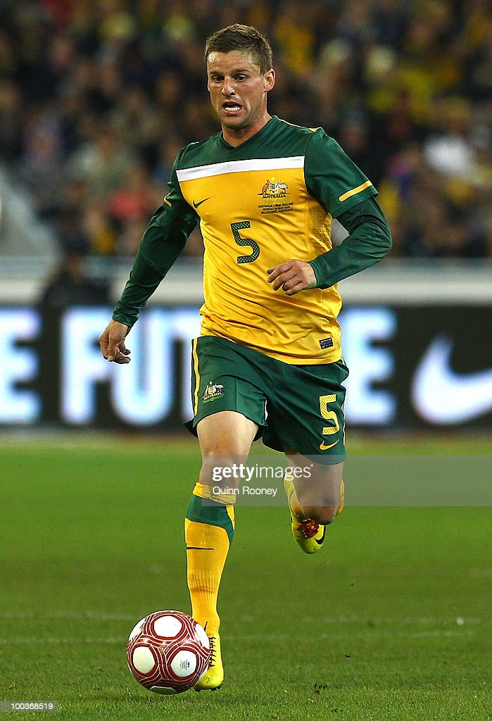 Jason Culina of Australia passes the ball during the 2010 FIFA World Cup Pre-Tournament match between the Australian Socceroos and the New Zealand All Whites at Melbourne Cricket Ground on May 24, 2010 in Melbourne, Australia.