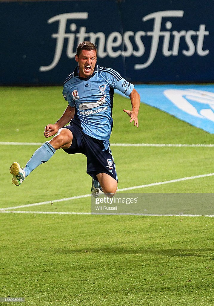 Jason Culina of Sydney celebrates after scoring a goal during the round 15 A-League match between the Perth Glory and Sydney FC at nib Stadium on January 5, 2013 in Perth, Australia.