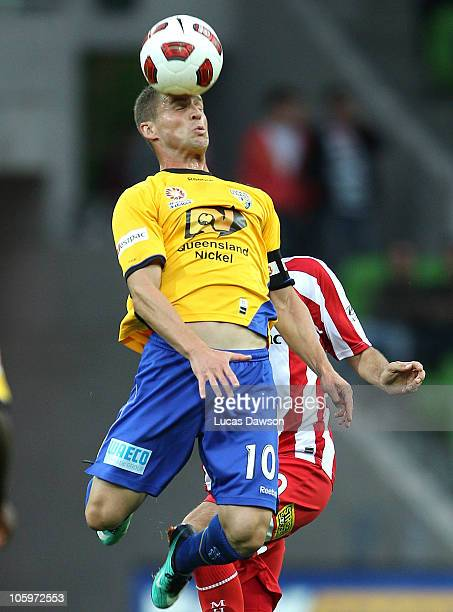 Jason Culina of the Gold Coast heads the ball during the ALeague match between the Melbourne Heart and Gold Coast United at AAMI Park on October 23...