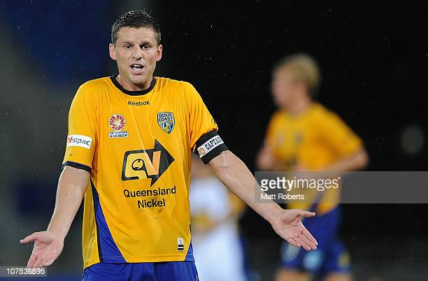Jason Culina of the Gold Coast signals the bench with his hands down during the round 18 ALeague match between Gold Coast United and the Wellington...